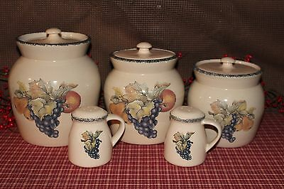 5 PC ~ Home & Garden Party USA  FRUIT Set of 3 Canisters w Lids 2 Salt & Pepper