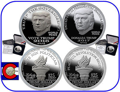 2016 Vote & 2017 Inauguration Trump Proof Silver Dollars with Boxes & COAs