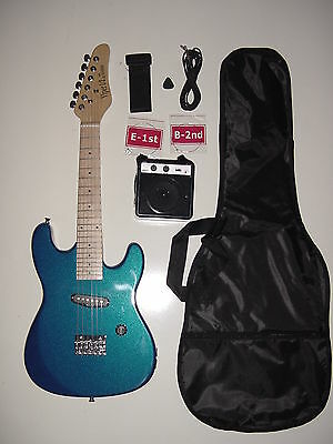 """KIDS 31""""  BLUE  1/2 SIZE ELECTRIC GUITAR with BATTERY POWERED PRACTICE AMP"""