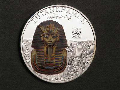 COOK ISLANDS 2012 $1 Tutankhamun Colorized Silvered Choice Proof