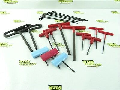 "New! Large Lot Of 20 T-Handle Hex Key Allen Wrenches 1/8"" To 25/64"""