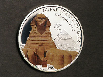 COOK ISLANDS 2014 $1 Great Sphinx Colorized Silvered Choice Proof