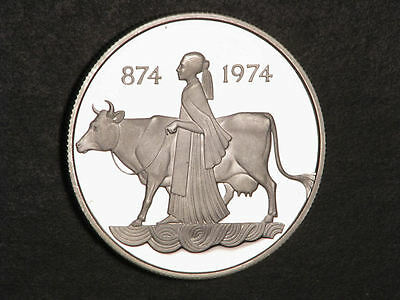 ICELAND 1974 500 Kronur Woman with Cow Silver Choice Proof