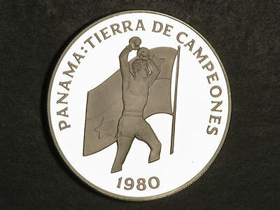 PANAMA 1980 5 Balboas Boxer Silver Crown Proof - Mtg=1261