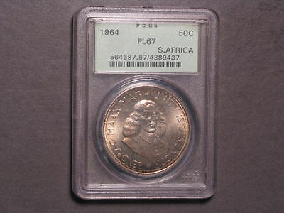 SOUTH AFRICA 1964 50 Cents Silver PCGS Slabbed PL-67