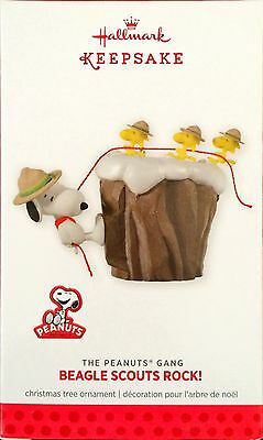 Snoopy Hallmark Beagle Boy Scout Rock Ornament 2013