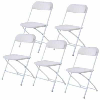 Set of 5 Plastic Folding Chairs Stackable Wedding Party Event Commercial White