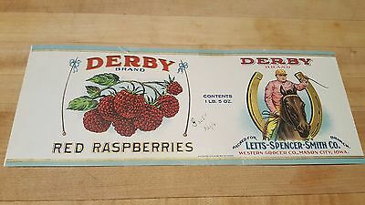 Vintage 1916 Derby Brand Red Raspberries Can Label Calvert Litho Grocer's Copy