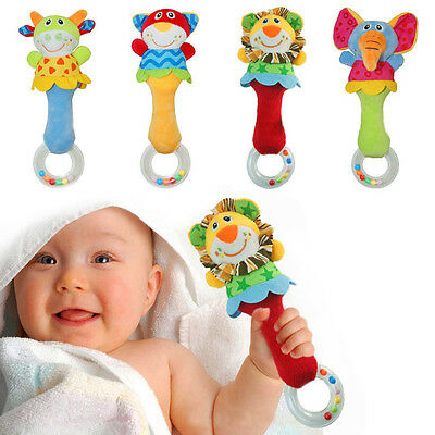 Kids Baby Animal Handbells Musical Developmental Toy Bed Bells Rattle Toys Gift