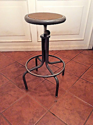 Vtg Industrial Adjustable Metal Shop Factory Swivel Stool Mid-Century STEAMPUNK