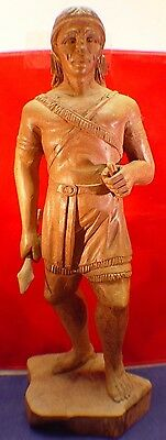Antique Counter Top Cigar Store Indian Figure, Hand Carved Wood, Trade Sign