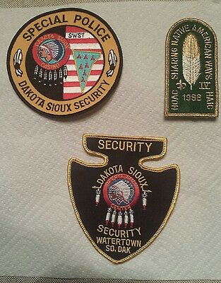 Three Vintage Native American Police Patches