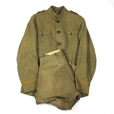 Officer Od Wool Service Coat Tunic Jacket W/ Breeches - Rare Large Size 42