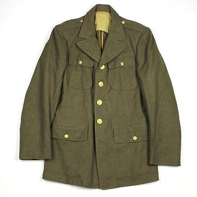 Original Wwii Us Army Enlisted Men Em Od Wool Dress Jacket Four Pockets - 36R