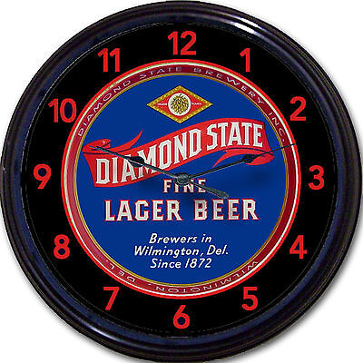 Diamond State Brewery Wilmington DE Beer Tray Wall Clock Ale Lager Man Cave New
