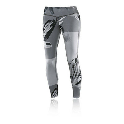 Salomon Elevate Womens Grey Running Training Long Tights Bottoms Pants
