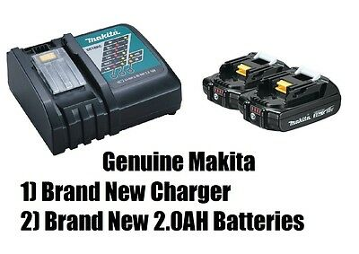 Makita 18V 2.0 Ah Lithium-Ion Battery (2-Pack) BL1820B-2 New + DC18RC Charger