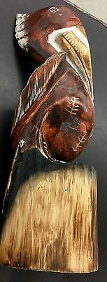BROWN PELICAN WOOD figurine w/ hand painted highlights