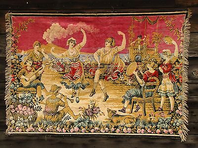 Vintage Italian Wall Hanging Tapestry Peasants Dancing Volcano in Background