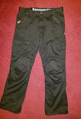 Bilt Iron Workers Kevlar Motorcycle Cargo Black Denim Pants Men's Size 36