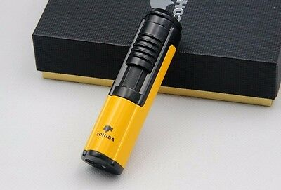 Yellow Chrome Steel Cohiba Single Torch Jet Flame Cigar Cigarette Lighter