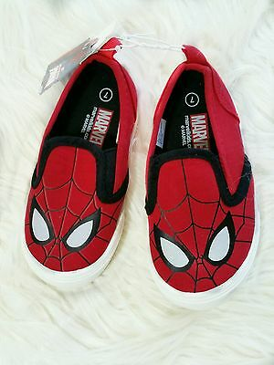 NWT Marvel Spider-Man Size 7 Slip On Canvas Toddler Shoes, Spiderman Sneakers
