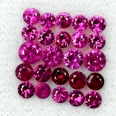 2.40 Cts Natural Red Ruby Round Diamond Cut Lot 2.5 upto 3.5 mm Loose Oldmogok $