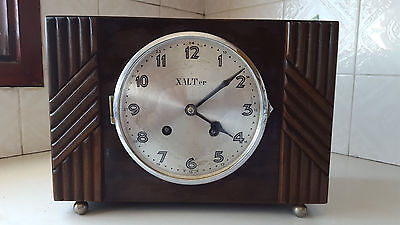 XALTer Antique Art Deco Wooden Mantle Windup Chime Clock - Made in Germany