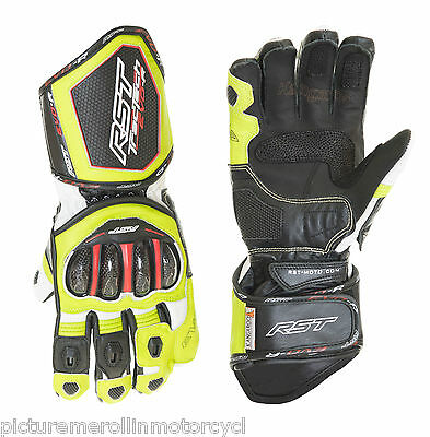 Rst Tractech Evo Fluro Race Motorcycle Road Track Gloves Leather Size M L Xl 2Xl