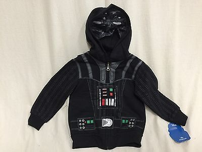 Star Wars Death Vader Boy's Character Zip Up Hoodie Jacket Black Sz 2T