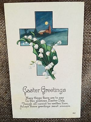 1900's Antique Vintage Litho Easter Postcard-Easter Greetings Cross and Flowers