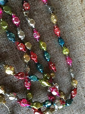 "Vintage Mercury Glass Multi Colored 3/4"" Cube Shaped Beads Feather Tree Garland"