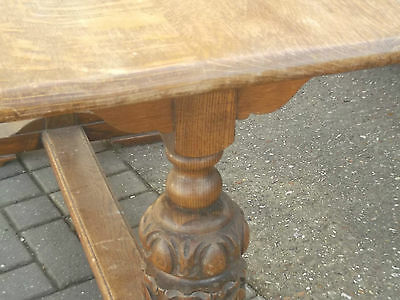 solid  oak refectory table antique bulbous legs needs clean up on top £88 buys