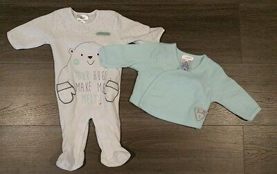 Baby Baby velour polar bear jumpsuit and cardigan size 000 - new