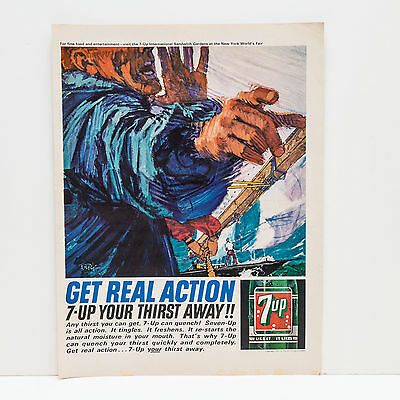 """Original 1960s 7-Up 7up """"Real Action"""" Advert (Vintage Poster Art Ad)"""