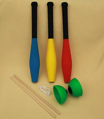 Brand New Set of 3 Juggling Clubs and 1 PlayM8 Juggling Diabolo - choose colour