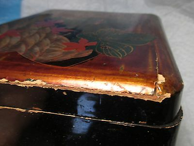 Antique Vintage Japanese Black Lacquer Jewelry Trinket Box BUG & FLOWERS chippy