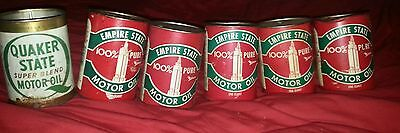 Vintage Empire And Quaker State Motor Oil Lot 6 Empty