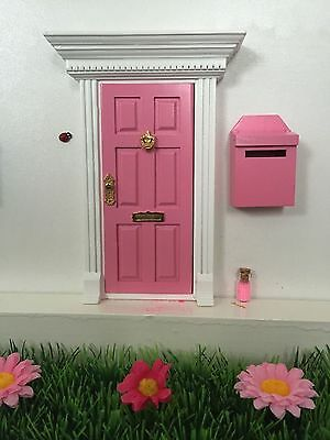 Pink Wooden Fairy Door with Fairy Mail Box, Fairy Dust and Fairy Garden