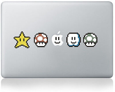 STAR, CLOUD, MUSHROOM [SUPER MARIO] Laptop Sticker Decal for Macbook [FITS ALL]