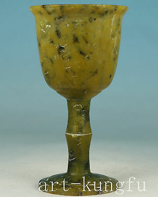 Chinese Old Jade Collection Handmade Carved Cup Statue