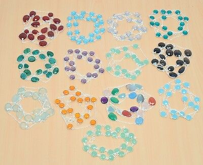 Wholesale 25Pc 925 Solid Sterling Silver Natural Smokey &mix Stone Neacklace Lot