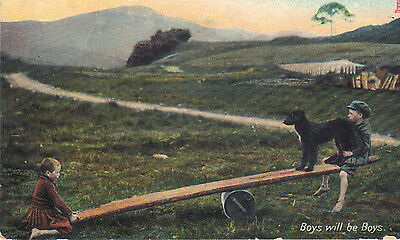 "Old vintage postcard  of ""Boys will be boys"" Tuck card 1907"