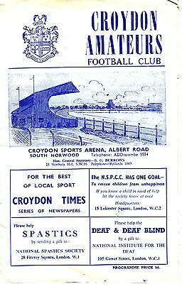 CROYDON AMATEURS V CLAPTON FC 20 NOVEMBER 1965 VGC Very rare