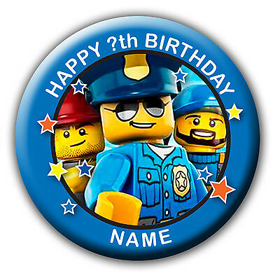 PERSONALISED LEGO CITY BIRTHDAY BADGE / FRIDGE MAGNET / NO PIN - 58MM or 77MM