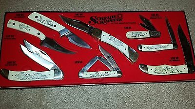 1981 Schrade Scrimshaw Of the Great Outdoors 8 knife set
