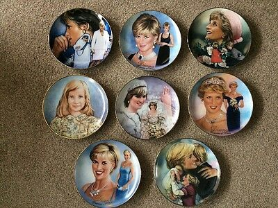 8 X DIANA, LIFE & LEGACY~Plates By Franklin Mint, Good Condition