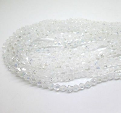 100pcs 6mm 5301# Bicone Faceted Glass Crystal Loose Spacer Beads White AB Colors