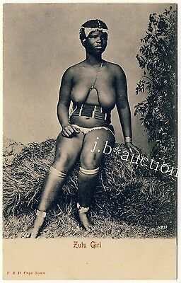 S Africa BUSTY NUDE ZULU WOMAN / FRAU MIT NACKTER BRUST * Vintage 1900s PC