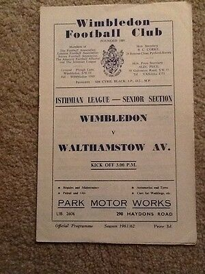 1961/62 Wimbledon V Walthamstow Avenue - Isthmian League - 28/10/1961